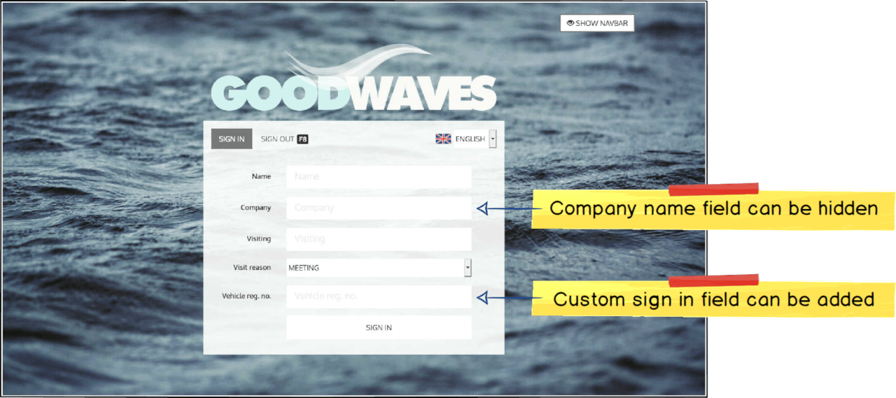 Customize sign in fields
